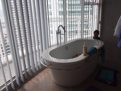 B's bathtub in the master. It is the only tub in the house. He loves it!